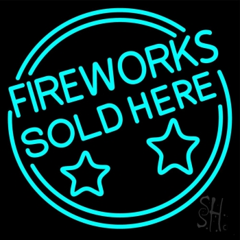 Fireworks Sold Here Circle Neon Flex Sign