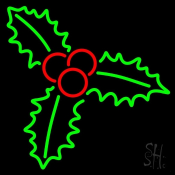 Green Christmas Holly Neon Flex Sign