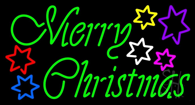 Green Merry Christmas With Multi Color Stars Neon Flex Sign