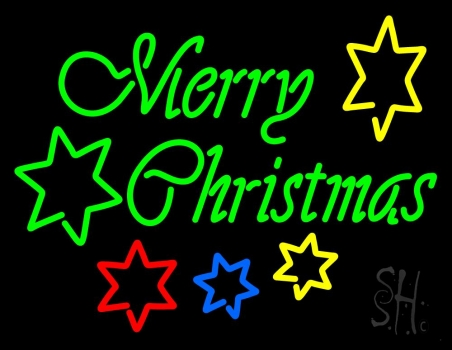 Green Merry Christmas With Stars Neon Flex Sign