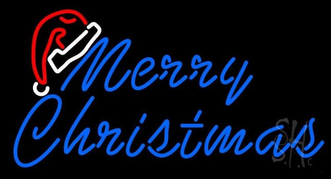 Merry Christams With Hat Neon Flex Sign