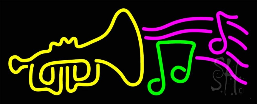 Trumpet With Musical Note Neon Flex Sign