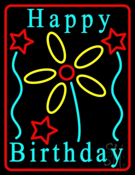 Turquoise Happy Birthday Neon Flex Sign