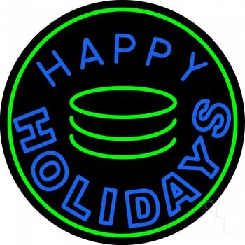 Blue Happy Holidays Block Neon Flex Sign