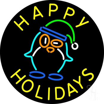 Happy Holidays With Snow Man Logo Neon Flex Sign