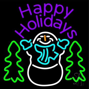 Purple Happy Holidays Snow Man Neon Flex Sign
