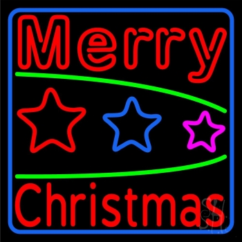 Red Merry Christmas With Stars Neon Flex Sign