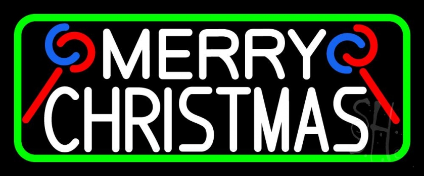 White Merry Christmas With Candy Stick Neon Flex Sign