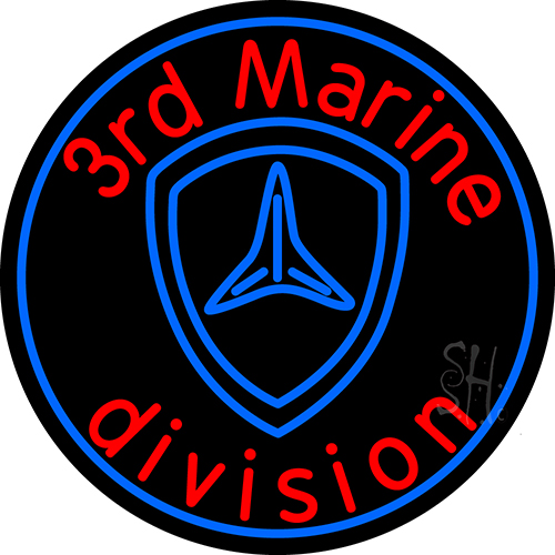 3rd Marine Division In Neon Flex Sign