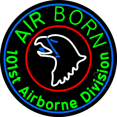 Airborne With Blue Neon Flex Sign