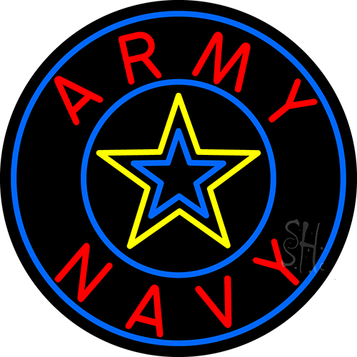 Army And Navy With Blue Neon Flex Sign