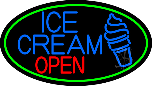 Blue Ice Cream Open With Green Neon Flex Sign