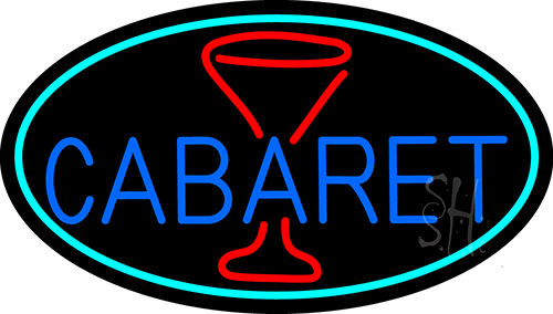 Cabaret With Wine Glass Neon Flex Sign
