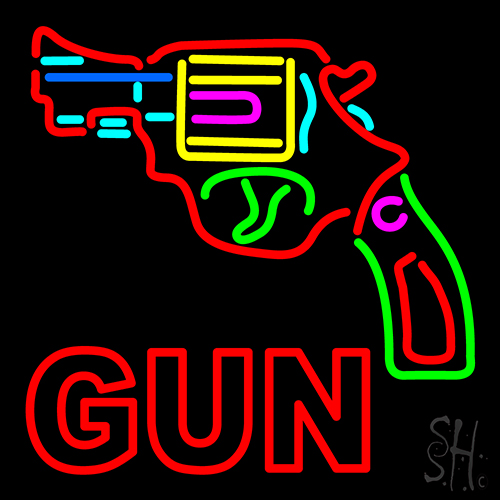 Gun Logo Neon Flex Sign