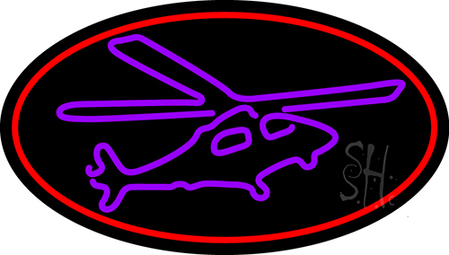 Purple Helicopter Neon Flex Sign