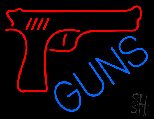 Red Guns Block Neon Flex Sign