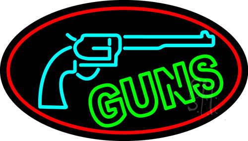 Red Guns Turquoise Logo Neon Flex Sign