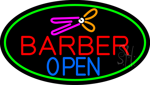 Barber Open With Green Border Neon Flex Sign