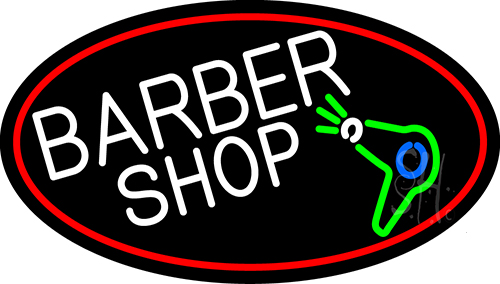 Barber Shop And Dryer And Scissor With Red Border Neon Flex Sign