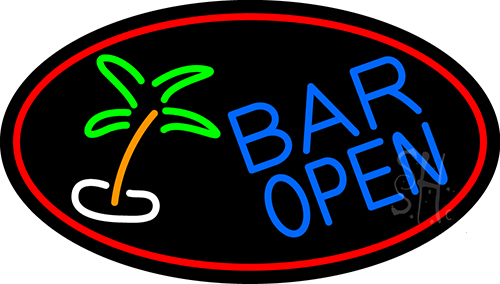 Bar Open With Two Palm Trees Neon Flex Sign