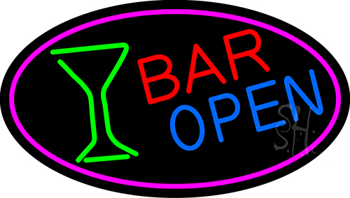 Bar Open With Wine Glass Neon Flex Sign