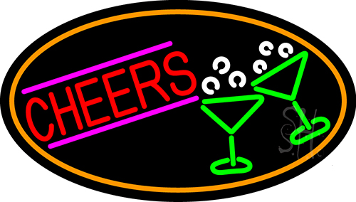 Cheers And Wine Glass With Orange Border Neon Flex Sign