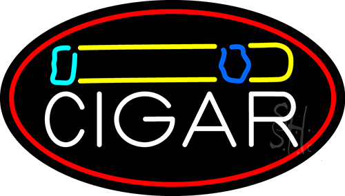 Cigar And Smoke With Red Border Neon Flex Sign