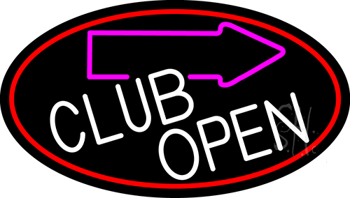 Club With Arrow Open Neon Flex Sign