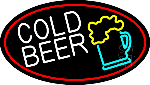 Cold Beer And Beer Mug With Red Border Neon Flex Sign