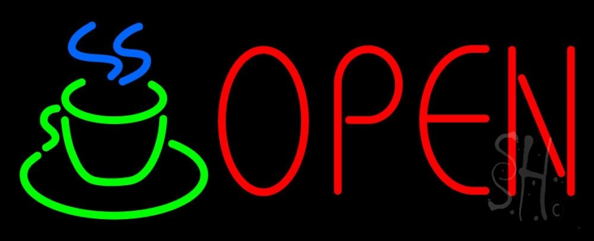 Red Open Coffee Cup Neon Flex Sign