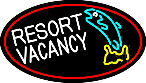 Resort Vacancy With Fish With Red Border Neon Flex Sign