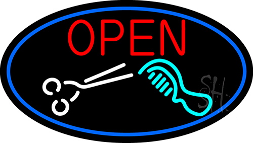 Open With Scissor And Comb Neon Flex Sign