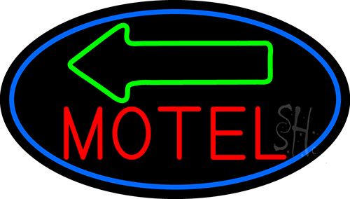 Red Motel With Green Arrow Neon Flex Sign