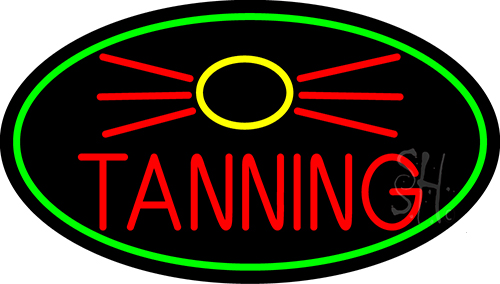 Red Tanning With Sun Logo Neon Flex Sign