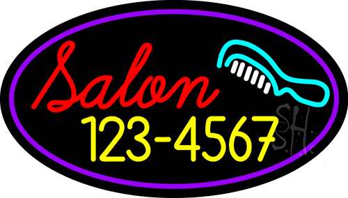 Salon With Comb And Number Neon Flex Sign