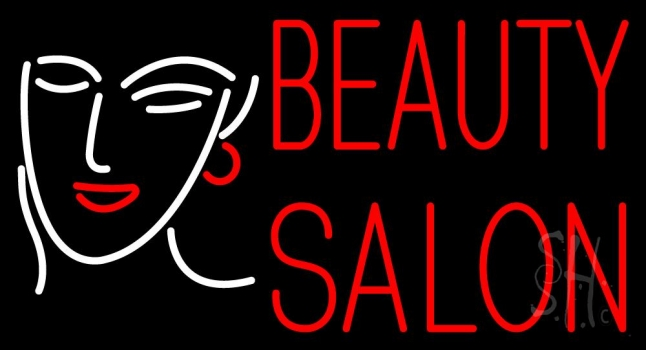 Red Beauty Salon With Girl Neon Flex Sign