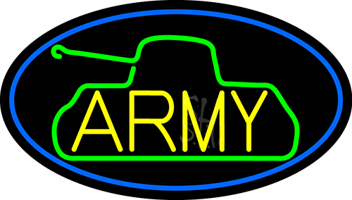 Yellow Army With Blue Border Neon Flex Sign