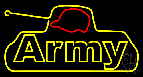 Yellow Army Neon Flex Sign