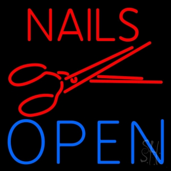Nails Open With Scissors Neon Flex Sign