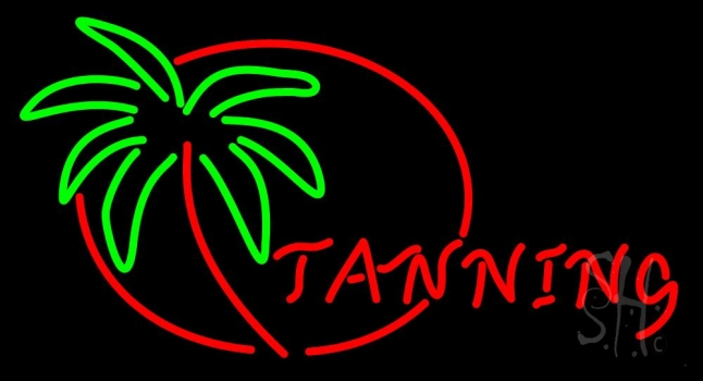 Red Tanning With Palm Tree Neon Flex Sign