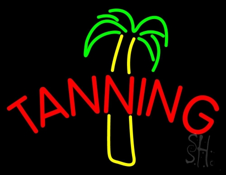 Tanning With Palm Tree Neon Flex Sign