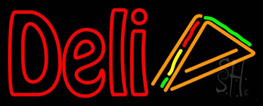Red Deli With Slice Neon Flex Sign