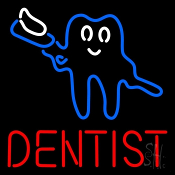 Tooth Logo With Brush Dentist Neon Flex Sign
