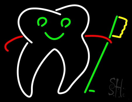 Tooth With Brush Logo Neon Flex Sign