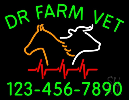 Dr Farm Vet With Number Neon Flex Sign