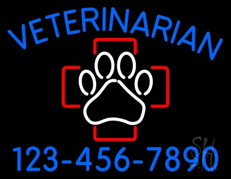 Veterinarian With Phone Number Neon Flex Sign