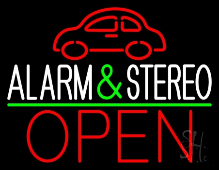 Car Logo Alarm And Stereo Open Green Line Neon Flex Sign