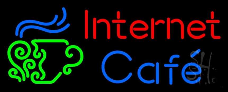 Red Internet Blue Cafe With Logo Neon Flex Sign