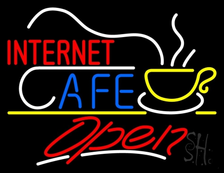 Red Internet Cafe Logo White Line Open Neon Flex Sign