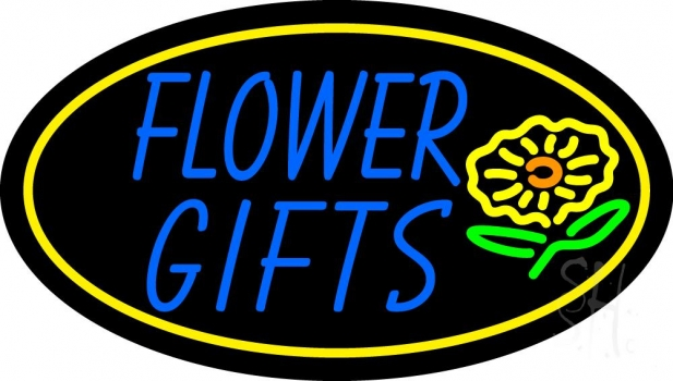 Blue Flower Gifts In Block Neon Flex Sign